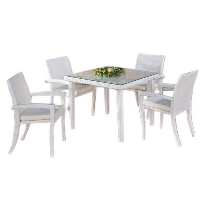 Table manger de jardin avec 4 chaises en poly achat - Table a manger jardin ...