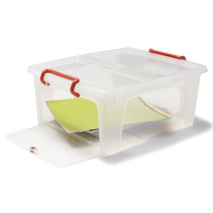 bo te de rangement empilable en plastique transparent avec couvercle lat ral 20 l achat. Black Bedroom Furniture Sets. Home Design Ideas
