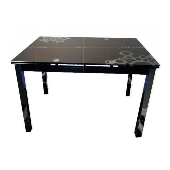 T017n table allonge salle a manger plateau verre noir for Table salle manger plateau zinc