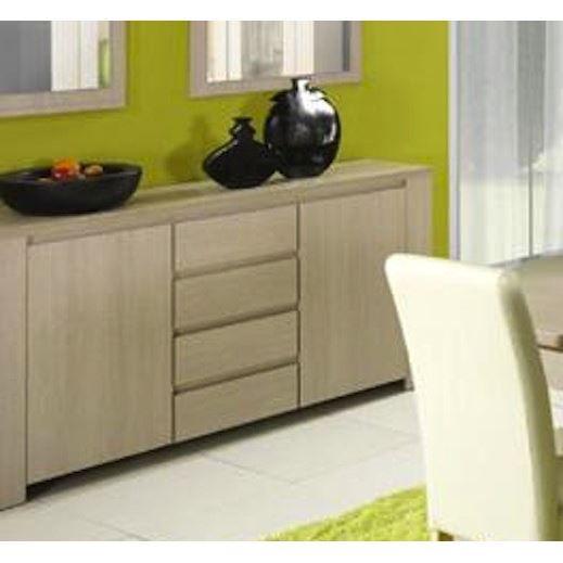 buffet 2 portes et 4 tiroirs couleur bouleau achat. Black Bedroom Furniture Sets. Home Design Ideas