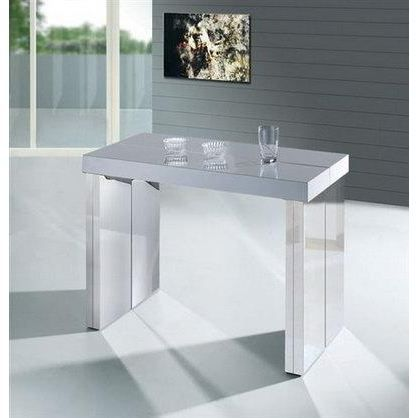 Console extensible pied chrome 10 couverts achat vente for Table console pliable 2 6 couverts