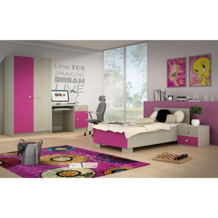Chambre compl te fille couleur rose et bois isabelle rose achat vente c - Cdiscount chambre fille ...