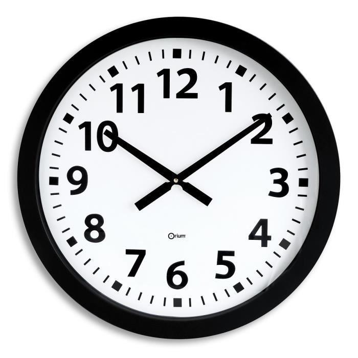horloge g ante piles quartz 60 cm noir achat vente horloge plastique soldes d hiver d s. Black Bedroom Furniture Sets. Home Design Ideas