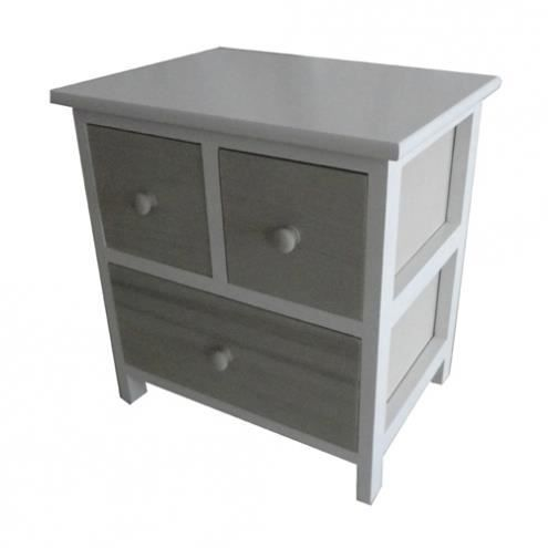 Commode grise 3 tiroirs pauline - Commode grise tiroirs ...
