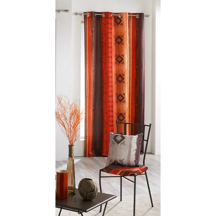 rideau oeillets 140x260 cm ghana cuivre achat vente rideau voilage rideau oeillets. Black Bedroom Furniture Sets. Home Design Ideas