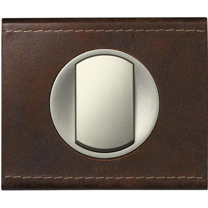 legrand plaque c liane finition cuir brun textur pour 1. Black Bedroom Furniture Sets. Home Design Ideas
