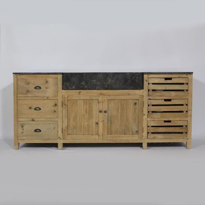 Cuisine avec portes et tiroirs en pin recycl achat for Meuble en bois recycle
