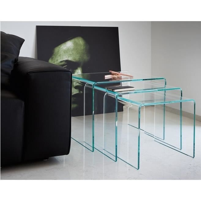 lot de 3 tables gigognes bridge transparente achat vente table basse lot de 3 tables. Black Bedroom Furniture Sets. Home Design Ideas