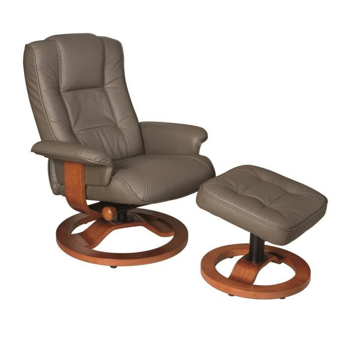 Fauteuil relax swithome wallas taupe achat vente fauteuil cuir bois cd - Cdiscount fauteuil relax ...