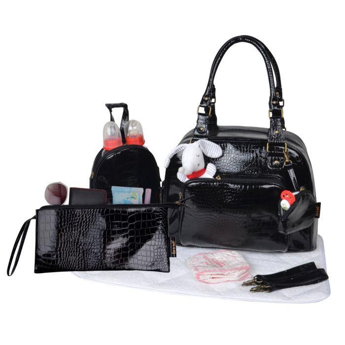 baby on board sac langer mon croco bag noir noir achat. Black Bedroom Furniture Sets. Home Design Ideas