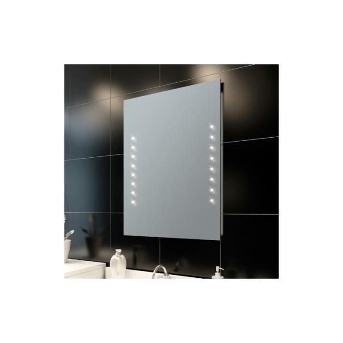 miroir de salle de bain avec clairage led 60 x 80 cm