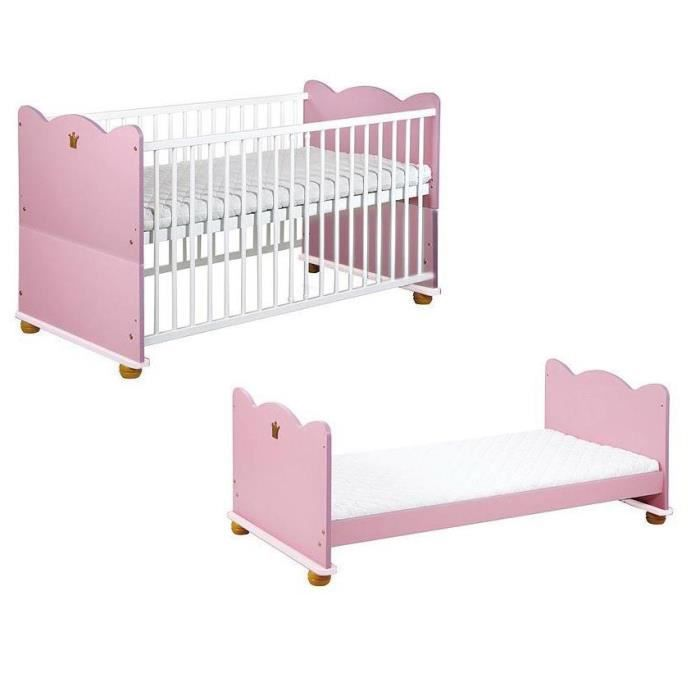 2 en 1 lit b b enfant princesse 140 x 70 cm achat vente lit b b 2 en 1 lit b b. Black Bedroom Furniture Sets. Home Design Ideas