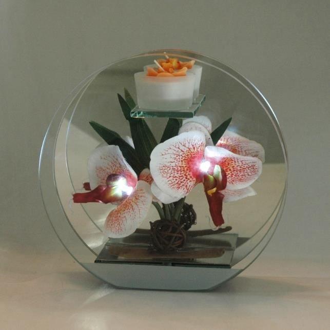 d coration florale orchid e artificielle rouge a led dans superbe rond en verre avec mirroir et. Black Bedroom Furniture Sets. Home Design Ideas