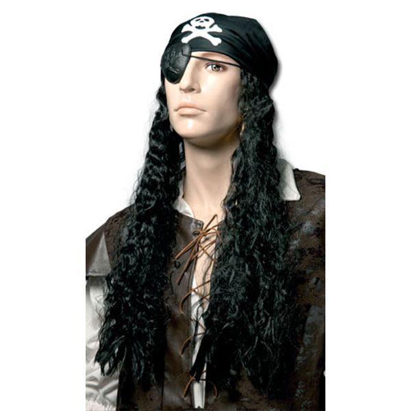 perruque homme pirate cheveux longs et foulard achat vente chapeau perruque soldes. Black Bedroom Furniture Sets. Home Design Ideas