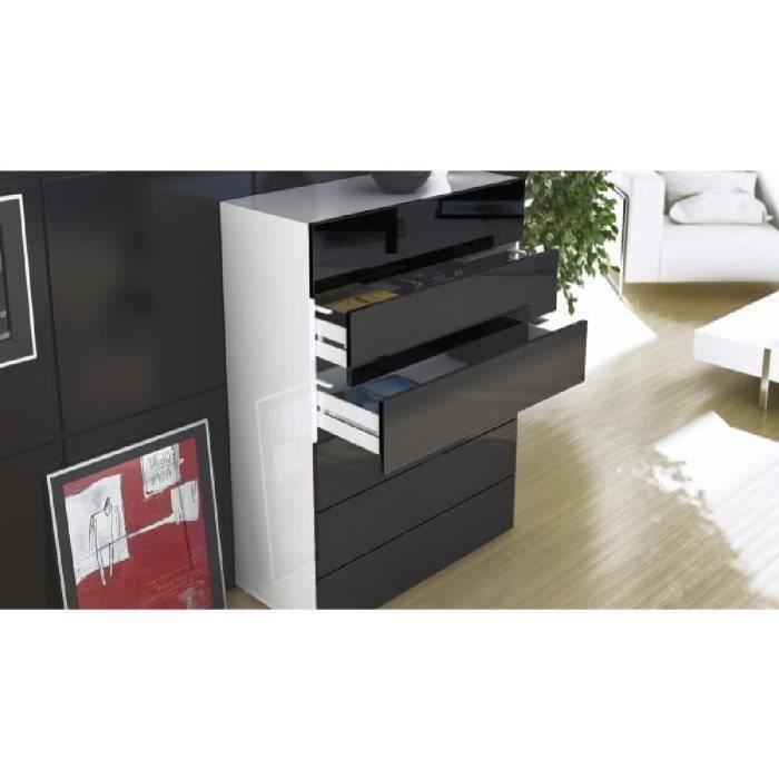 commode blanc et bois brut avec 6 tiroirs 106cm achat. Black Bedroom Furniture Sets. Home Design Ideas