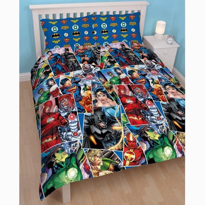 Parure de lit double la ligue des justiciers dc comics achat vente parure de couette cdiscount for Parure lit double