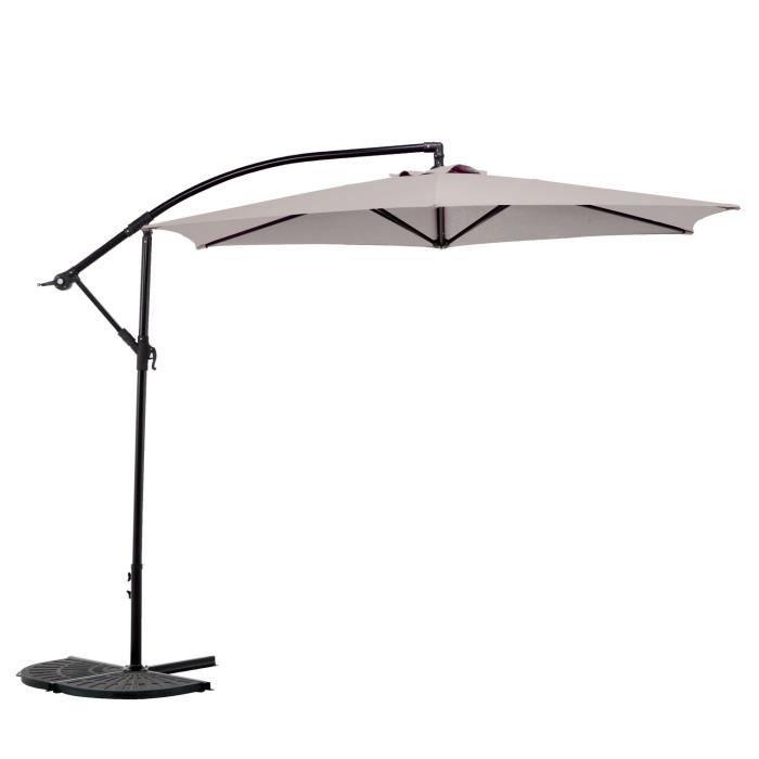 parasol rond 3m decentre beige sable avec pieds achat. Black Bedroom Furniture Sets. Home Design Ideas