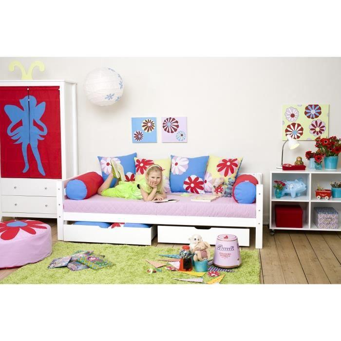 loop lit canap enfant 90x200cm en bois massif sommier tiroirs blanc achat vente. Black Bedroom Furniture Sets. Home Design Ideas