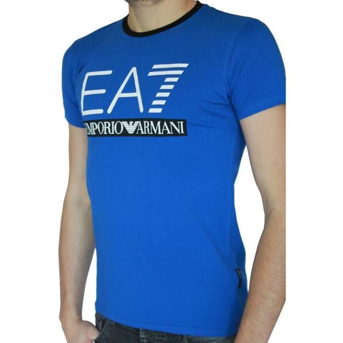 t shirt ea7 emporio armani homme manches courtes b bleu achat vente t shirt t shirt ea7. Black Bedroom Furniture Sets. Home Design Ideas