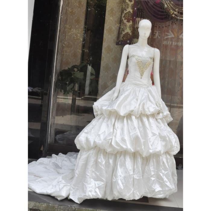 Robe De Mariée Bustier Au CœUr Orné Des Perles Blanc - Achat ...