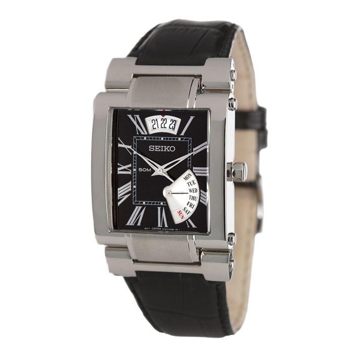 seiko montre homme noir classique achat vente montre. Black Bedroom Furniture Sets. Home Design Ideas