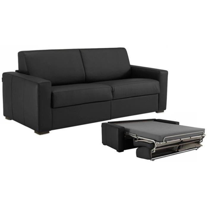 Canap convertible milano cuir recycl noir 120cm achat for Canape milano