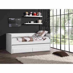 ROBIN Lit enfant combiné 90x200 cm - Laqué Blanc