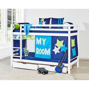 Loop star lit enfant superpos 90x200cm sommier 2 tiroirs de rangement - Rideau pour lit superpose ...