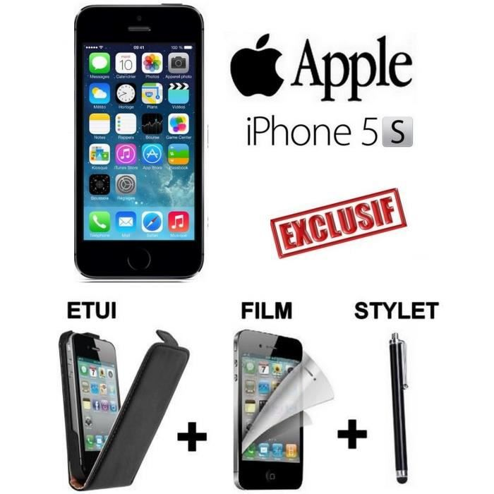 inedit apple iphone 5s noir etui film stylet achat. Black Bedroom Furniture Sets. Home Design Ideas