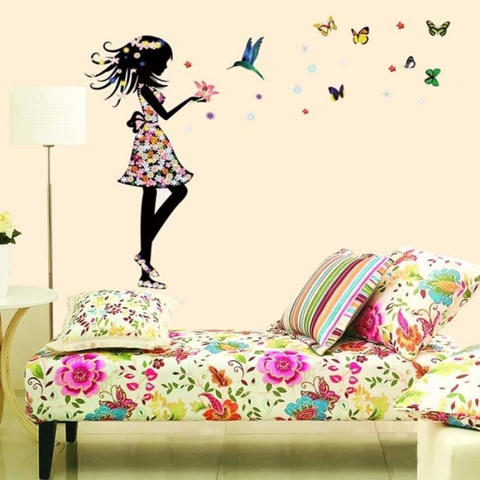 Neufu sticker mural mur fleur autocollant fille papillon for Autocollant mural