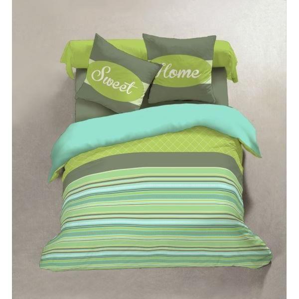 parure drap plat 240x300 cm drap housse 140x190 cm 2 taies d oreiller noisette vert achat. Black Bedroom Furniture Sets. Home Design Ideas