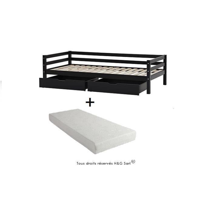 Lit banquette blanc avec matelas noir avec tiroir de rangement achat vent - Banquette lit avec rangement ...
