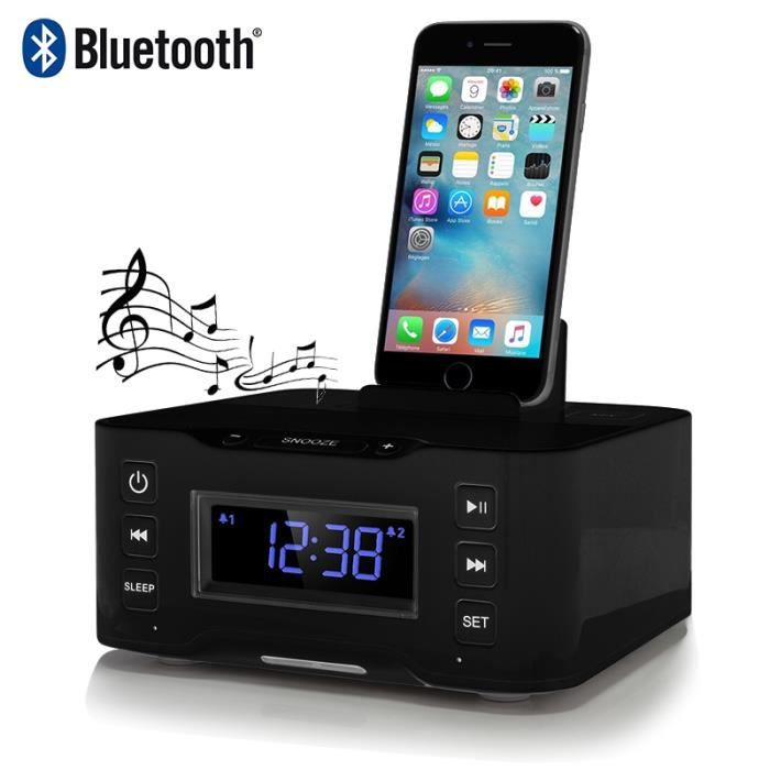 station d 39 accueil enceinte bluetooth noir pour apple. Black Bedroom Furniture Sets. Home Design Ideas