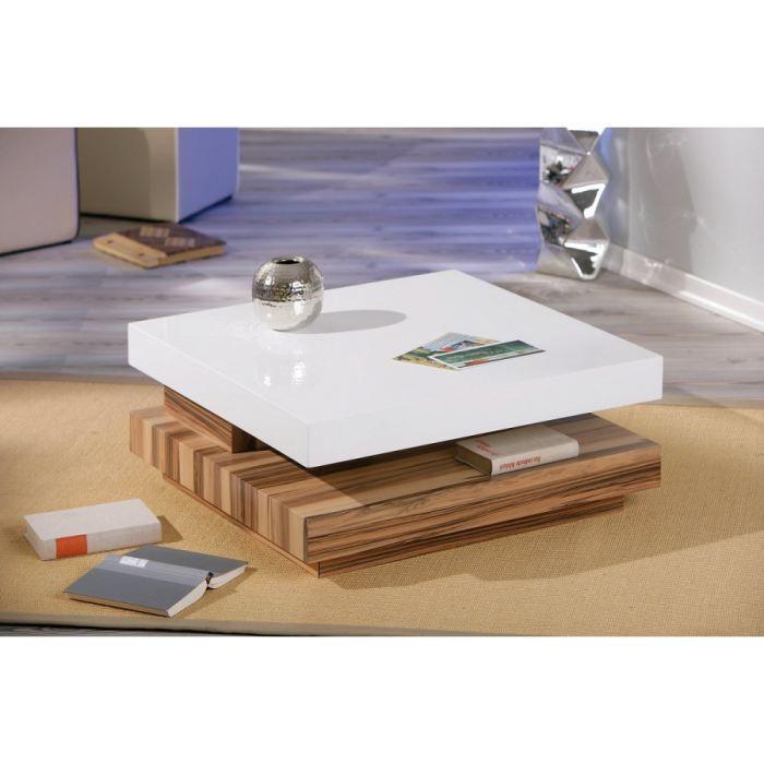 Table basse carree duomo blanc baltimore achat vente - Table basse carree blanc ...