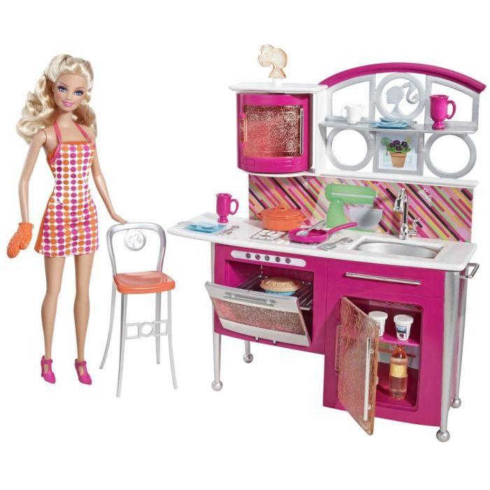 barbie mobilier luxe cuisine et t l achat vente poup e barbie mobilier luxe cuisine. Black Bedroom Furniture Sets. Home Design Ideas