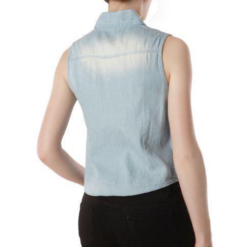 veste en jean sans manches nouer veste en jean sans manches munie d 39 une base nouer col en. Black Bedroom Furniture Sets. Home Design Ideas