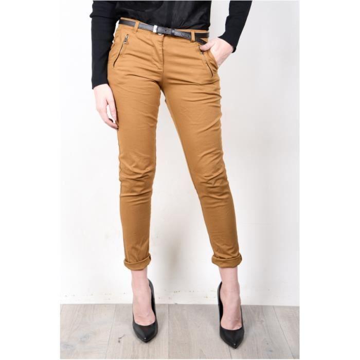 pantalon chino femme toile souple moutarde avec ceinture moutarde achat vente pantalon. Black Bedroom Furniture Sets. Home Design Ideas