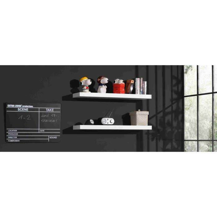 robin tablettes murales laqu es blanches achat vente. Black Bedroom Furniture Sets. Home Design Ideas
