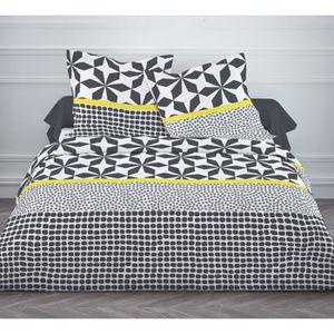 housse de couette 220x240 jaune achat vente housse de. Black Bedroom Furniture Sets. Home Design Ideas