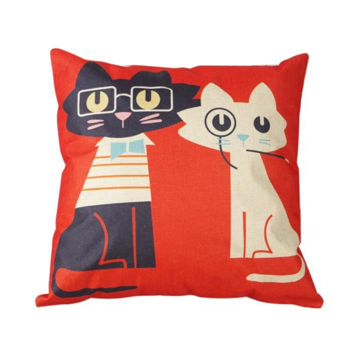 Housse de coussin protecteur d cor canap sofa motif chat - Housse de coussin canape 60x60 ...