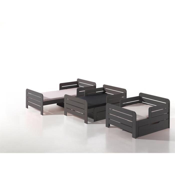 Jumper lit volutif enfant avec tiroir gris achat vente structure de lit - Lit evolutif extensible ...