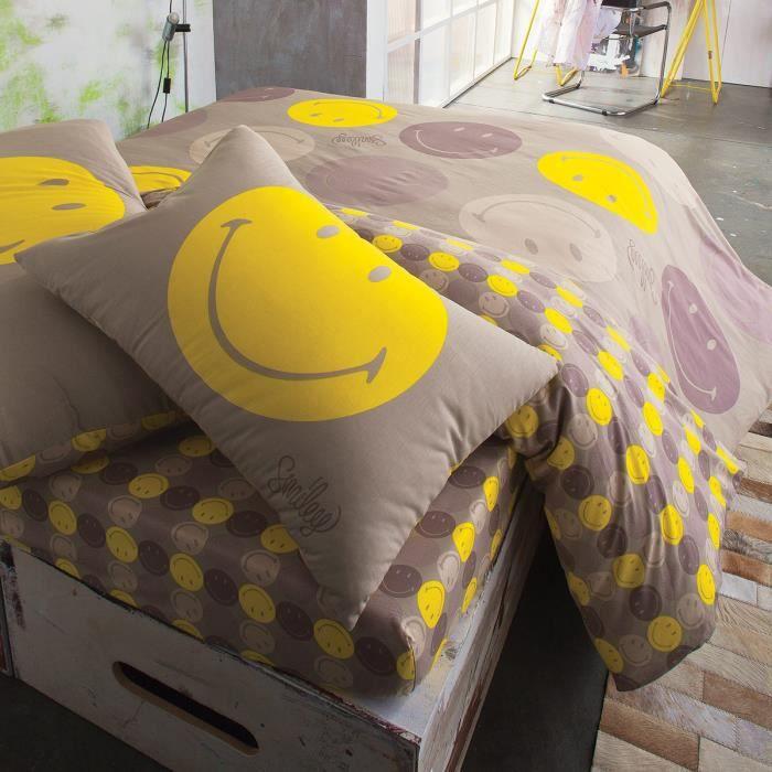 parure smiley cravate lin 200x200cm 1 taie achat vente parure de couette cdiscount. Black Bedroom Furniture Sets. Home Design Ideas