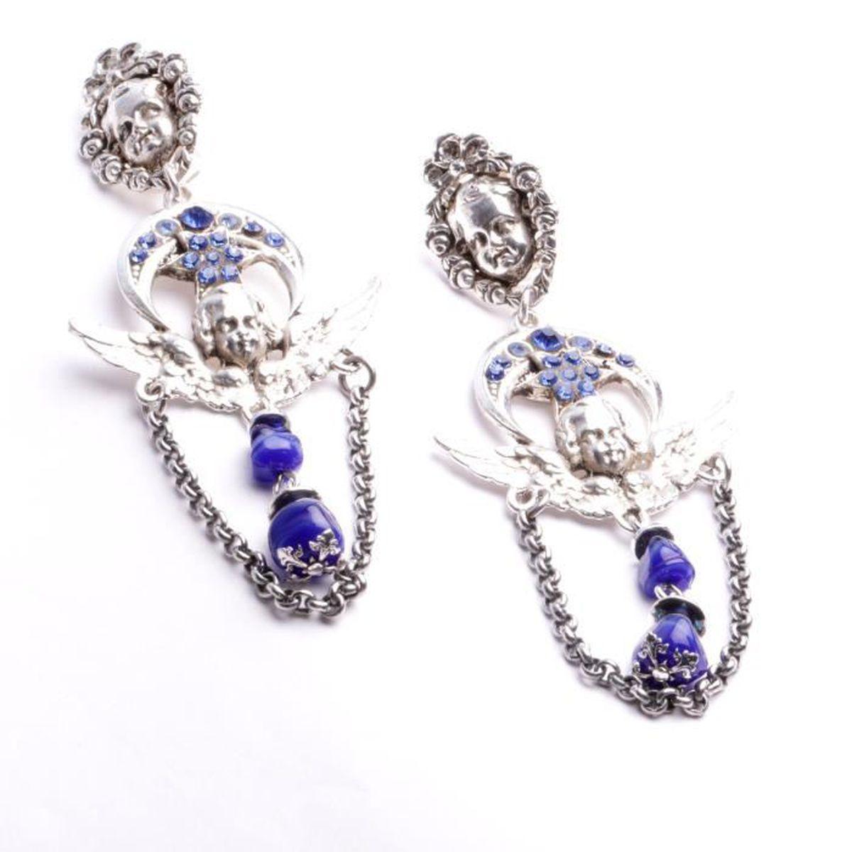 boucle d oreille argent e longues clips motif ange strass swarovski bleu cr ation bijou fait. Black Bedroom Furniture Sets. Home Design Ideas