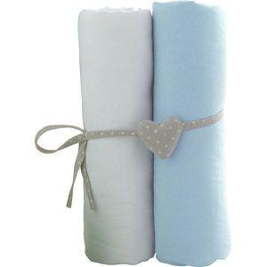 DRAP HOUSSE MATELAS BABYCALIN Lot de 2 draps housse blanc/bleu ciel -