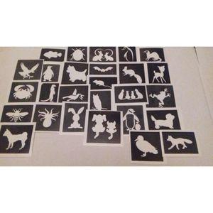 JEU DE TATOUAGE 30 x pochoirs d'insectes et de petits animaux