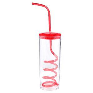 Gobelet plastique avec paille et couvercle achat vente gobelet plastique avec paille et - Verre a paille ...