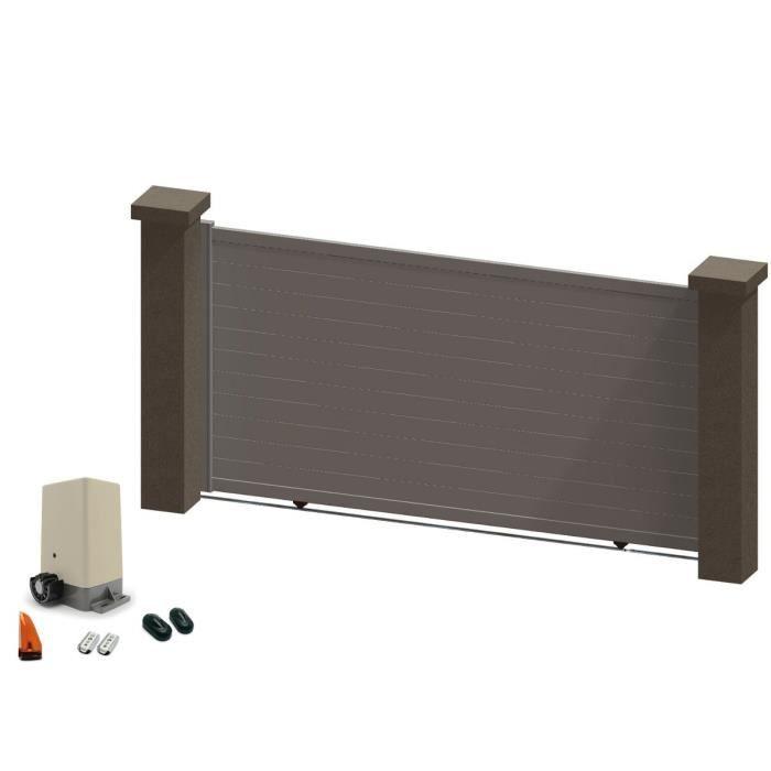 portail coulissant en aluminium ina blanc 3 5m motoris achat vente portail portillon. Black Bedroom Furniture Sets. Home Design Ideas