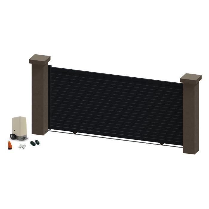 portail coulissant en aluminium salma gris 3 5m motoris achat vente portail portillon. Black Bedroom Furniture Sets. Home Design Ideas