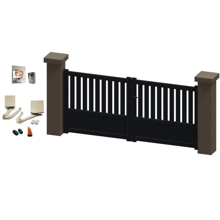 portail battant en aluminium jania gris 3m motoris. Black Bedroom Furniture Sets. Home Design Ideas