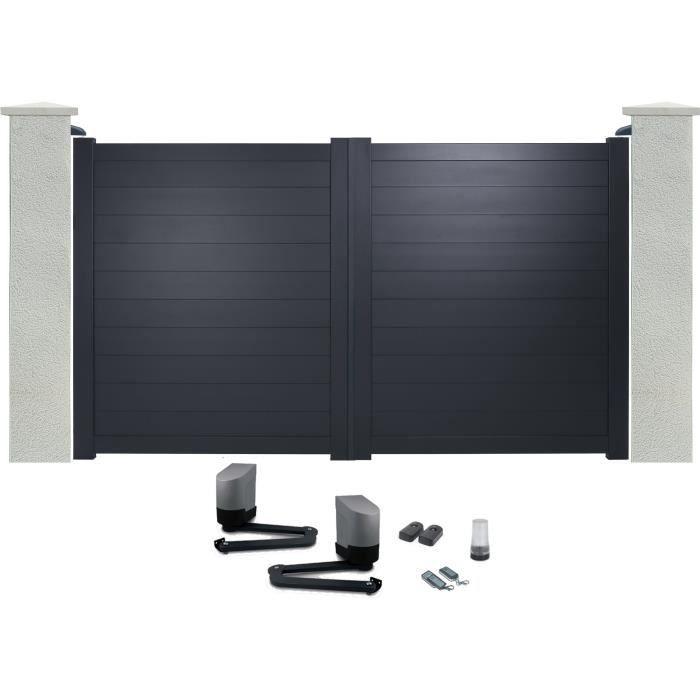 portail battant en aluminium yel gris 3m motoris autour du portail achat vente portail. Black Bedroom Furniture Sets. Home Design Ideas